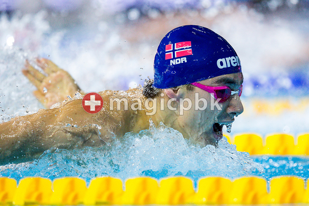 Tomoe ZENIMOTO HVAS of Norway competes in the men's 200m Butterfly Heats during the 19th LEN European Short Course Swimming Championships held at the Royal Arena in Copenhagen, Denmark, Sunday, Dec. 17, 2017. (Photo by Patrick B. Kraemer / MAGICPBK)