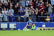 Seamus Coleman of Everton celebrates after scoring his teams 2nd goal. Premier league match, Everton v Middlesbrough at Goodison Park in Liverpool, Merseyside on Saturday 17th September 2016.<br /> pic by Chris Stading, Andrew Orchard sports photography.