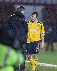 Falkirk's Thomas Grant with Steven Pressley, Falkirk manager after being subbed in the second half..Airdrie United 1 v 4 Falkirk, 22/12/2012..©Michael Schofield.