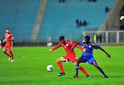 March 22, 2019 - Rades, Tunisia - Anice Badri(9) of Tunisia and Gamedze Sandile(4) during the Match Tunisia vs Eswatini at the Rades Olympic stadium in the last qualifying round of the 2019 African Nations Cup finals vs. Tun vs Eswatini 4/0. (Credit Image: © Chokri Mahjoub/ZUMA Wire)