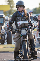 Cris Sommer Simmons on her 1915 Harley-Davidson after crossing the finish line at the end of the first day of the Motorcycle Cannonball Race of the Century. Stage-1 from Atlantic City, NJ to York, PA. USA. Saturday September 10, 2016. Photography ©2016 Michael Lichter.