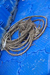 Some of the rope removed from the race course that caused problems at low tides when the yachts got entangled in it. Korea Match Cup 2010. World match Racing Tour. Gyeonggi, Korea. 12 June 2010. Photo: Gareth Cooke/Subzero Images