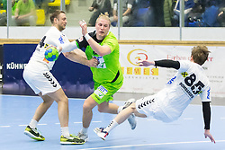03.02.2017, BSFZ Suedstadt, Maria Enzersdorf, AUT, HLA, SG INSIGNIS Handball WESTWIEN vs HC FIVERS WAT Margareten, HLA Oberes Playoff, 1. Runde, im Bild Vytautas Ziura (HC FIVERS WAT Margareten), Wilhelm Jelinek (SG INSIGNIS Handball WESTWIEN), David Brandfellner (HC FIVERS WAT Margareten) // during Handball League Austria, upper play off, 1 st round match between SG INSIGNIS Handball WESTWIEN and HC FIVERS WAT Margareten at the BSFZ Suedstadt, Maria Enzersdorf, Austria on 2017/02/03, EXPA Pictures © 2017, PhotoCredit: EXPA/ Sebastian Pucher