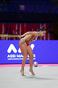 Lucia Castiglioni of San Marino competes during the Rhythmic Gymnastics Individual World Cup qualification at Vitrifrigo Arena on May 28-29, 2021, in Pesaro, Italy. She was born on May 28, 1998.