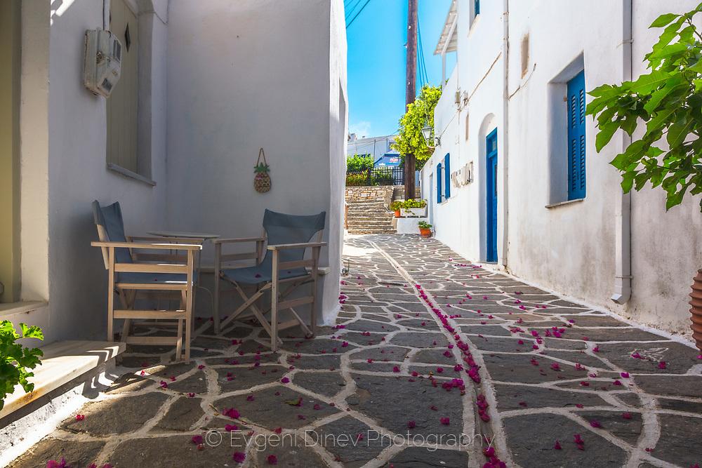 Marpissa, Paros, Greece - July 2021: Street Of Marpissa