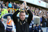 Neil Harris, the Millwall manager applauds the home fans as he arrives at the dugout before k/o. Skybet football league one play off semi final 2nd leg match, Millwall v Bradford city at The New Den in London on Friday 20th May 2016.<br /> pic by John Patrick Fletcher, Andrew Orchard sports photography.