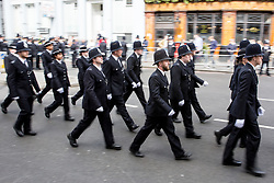© Licensed to London News Pictures. 10/04/2017. London, UK. Police arrive for the funeral of PC Keith Palmer at Southwark Cathedral. PC Palmer was stabbed to death at the entrance to Parliament by Khalid Masood on 22 March 2017. Masood also drove a vehicle into people on Westminster bridge, killing four. Photo credit : Tom Nicholson/LNP