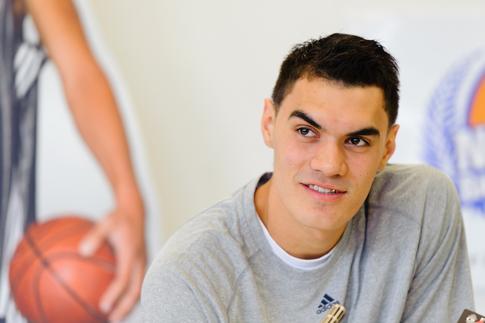 Press conference for Oklahoma City Thunder centre NBA rookie Steven Adams along with current NBA All-Star Brook Lopez at the ASB Sports Centre in Kilbirnie, Wellington. 18 August 2013. Photo: Mark Tantrum/www.photosport.co.nz