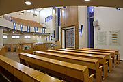 Interior of an modern, empty synagogue, Jerusalem, Israel