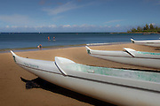Outrigger canoes on the beach at Haleiwa, Oahu, Hawaii