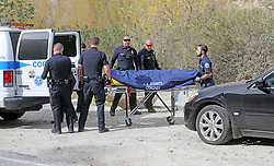 The body of Mark Salling is loaded into a van by the LA County Coroner. The 35 year-old actor was found dead near a riverbed in Sunland, where the actor lived, his car can be seen in these pictures. 30 Jan 2018 Pictured: Mark Salling's body, his black car can be seen in the right of frame. Photo credit: MEGA TheMegaAgency.com +1 888 505 6342