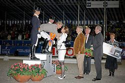 Tosca and Kees Vissers congratulation Edward Gal<br /> 1. Gal Edward (NED) <br /> 2. Van Grunsven Anky (NED)<br /> 3. Schellekens Imke (NED)              <br /> Nederlands Kampioenschap Dressuur - De Steeg 2009<br /> Photo © Dirk Caremans