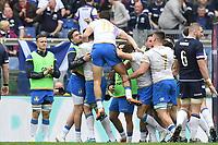 Celebration after Try of Sebastian Negri Italy<br /> Roma 17-03-2018, Stadio Olimpico<br /> Rugby 6 Nations Tournament <br /> Italia - Scozia / Italy - Scotland<br /> <br /> Foto Antonietta Baldassarre Insidefoto