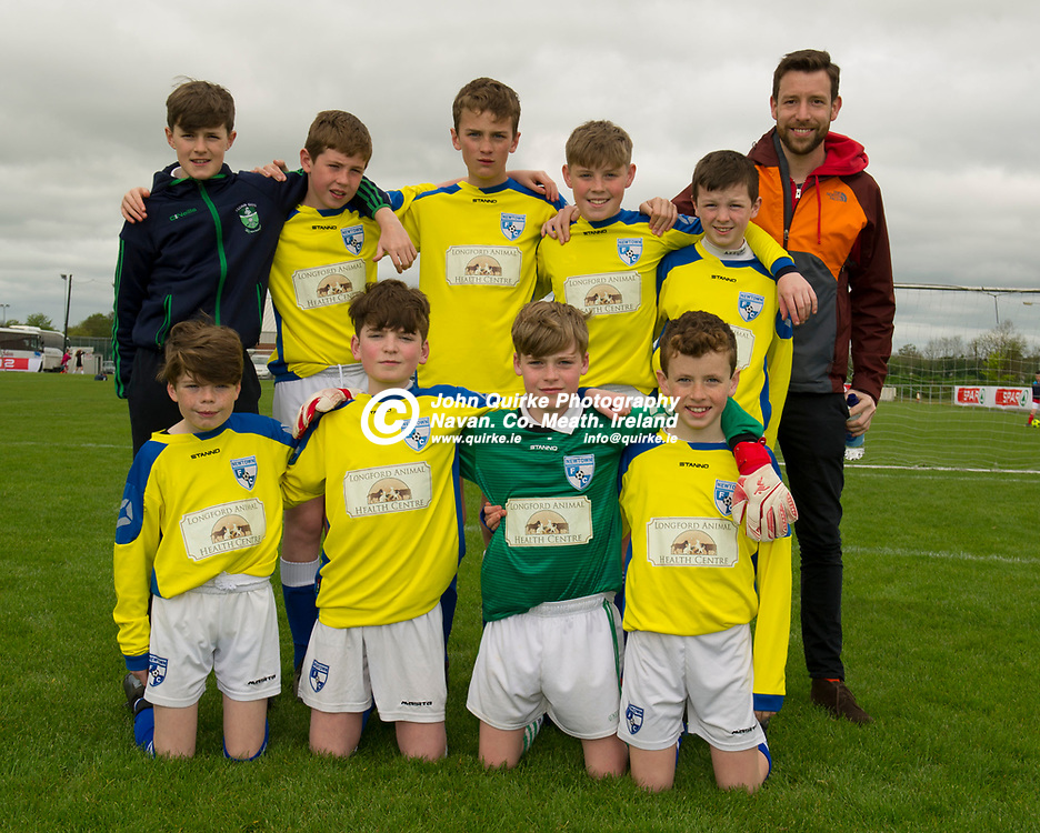 02-05-19. SPAR & FAI Primary School 5's North Leinster Finals at the MDL Grounds, Navan.<br /> Scoil Mhuire N.S. Newtownforbes pictured with their teacher Ross Gannon.<br /> The SPAR FAI Primary Schools 5s Programme is the largest primary schools' competition in the country with 36,616 students from 1,691 schools participating in a fun, safe and inclusive environment. <br /> Photo: John Quirke / www.quirke.ie<br /> ©John Quirke Photography, Unit 17, Blackcastle Shopping Cte. Navan. Co. Meath. 046-9079044 / 087-2579454.