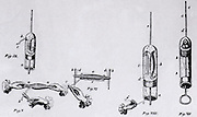 Jan Swammerdam (1637-1680) Dutch naturalist. Swammerdam's observations on the contraction of muscle. V: Dissected muscle with nerve attached (nerve-muscle preparation). VI: Nerve-muscle preparation in glass tube, tendons attached to pins. When nerve pinched, the muscle contracts and fills  VIII: Nerve-muscle preparation in glass tube, one end closed with a cork, the other having narrow tube with water droplet at e. Nerve pulled by thread c. IX:  Similar to VIII.  Engraving from 'Biblia Naturae' by Jan Swammerdam (1737-1738).