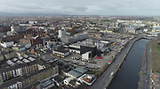 Aerial Photos of Dublin city Centre During Travel Restrictions, 3-4-20, 3rd March 2020, Covid 19, Friday Morning, Rush Hour, showing almost, Empty Streets, as people, curtail all but essential movment, Ireland, and Irish are doing thier best to reduce risk to others, Huston Station, Guinness's, Ushers Island, liffey Photos, Photo, Snap, Streets, Street,