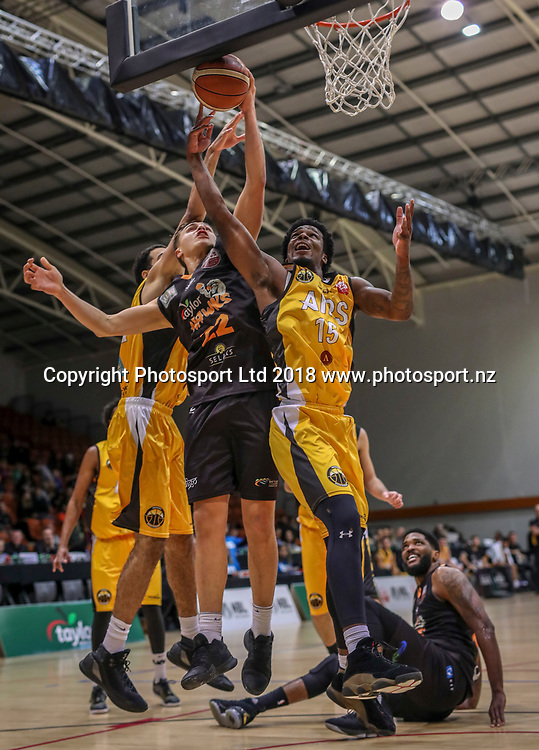 Hawkes Bay's Hyrum Harris. Taylor Hawks v Taranaki MountainAirs, Sal's NBL Basketball, PG Arena, Napier, New Zealand. Saturday, 23 June, 2018. Copyright photo: John Cowpland / www.photosport.nz