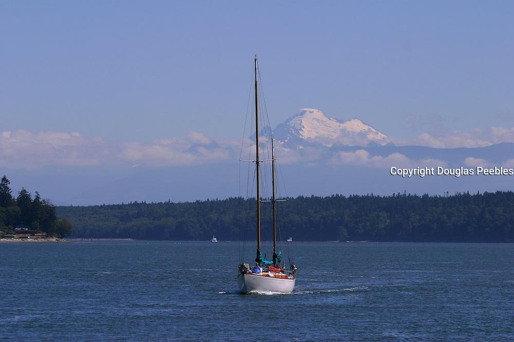 Sailboat, Mt. Baker in background, Washington<br />