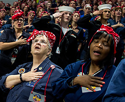 Oct.14, 2017 - Ypsilanti, Michigan, U.S. -  Women take part in an attempt at Eastern Michigan University to set  a Guinness World Record for Most Rosie the Riveters. Some 3,755 women, men and children were officially counted, shattering the previous record held by Richmond, California. The world record effort brings attention to the campaign to renovate the Willow Run factory, home of the original Rosie the Riveter during WWII.(Credit Image: © Brian Cahn via ZUMA Wire)