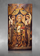Gothic Catalan altarpiece of Saint Peter enthroned, by Roderic d'Orsona of Valencia, circa 1475, tempera and gold leaf on wood.  National Museum of Catalan Art, Barcelona, Spain, inv no: MNAC 15816. Against a grey art background. .<br /> <br /> If you prefer you can also buy from our ALAMY PHOTO LIBRARY  Collection visit : https://www.alamy.com/portfolio/paul-williams-funkystock/gothic-art-antiquities.html  Type -     MANAC    - into the LOWER SEARCH WITHIN GALLERY box. Refine search by adding background colour, place, museum etc<br /> <br /> Visit our MEDIEVAL GOTHIC ART PHOTO COLLECTIONS for more   photos  to download or buy as prints https://funkystock.photoshelter.com/gallery-collection/Medieval-Gothic-Art-Antiquities-Historic-Sites-Pictures-Images-of/C0000gZ8POl_DCqE