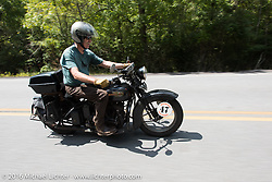 Richard Duda riding his 1924 Henderson Deluxe during Stage 3 of the Motorcycle Cannonball Cross-Country Endurance Run, which on this day ran from Columbus, GA to Chatanooga, TN., USA. Sunday, September 7, 2014.  Photography ©2014 Michael Lichter.