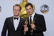"88th Academy Awards press room.<br /> Best original screenplay winners Josh Singer and Tom McCarthy for ""Spotlight."""