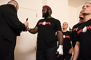 Houston, Texas - February 19, 2016: Dada 5000 has his hands wrapped before fighting against Kimbo Slice during Bellator 149 at the Toyota Center in Houston, Texas on February 19, 2016. (Cooper Neill for ESPN)