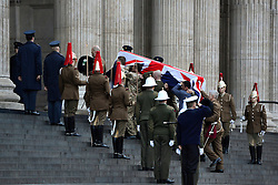 © Licensed to London News Pictures. 15/04/2013. London, UK The rehearsal coffin arrives at St Paul's Cathedral. A full rehearsal of the funeral of former British Conservative Prime Minster Baroness Thatcher takes place in central London. Hundreds of members of the armed forces drawn from all three services took part in the practice in the early hours of 15th April 2013. Photo credit : Stephen Simpson/LNP