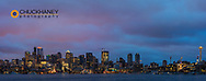 City skyline from Gasworks Park and Lake Union in Seattle, Washington, USA