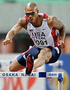 Aug 25, 2007; Osaka, JAPAN; James Carter (USA) wins 400m hurdle heat in 49.52 in the 11th IAAF World Championships at Nagai Stadium.
