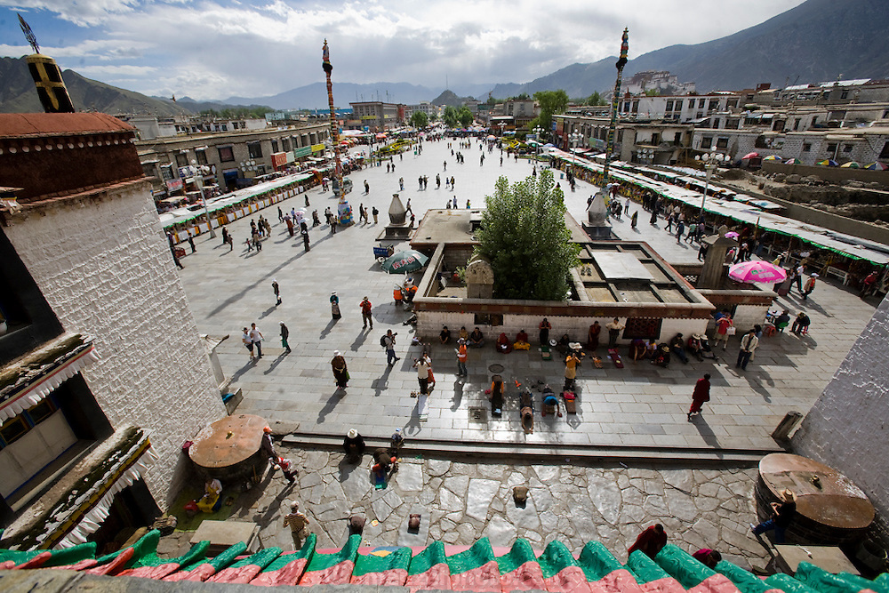 The plaza in front of the Jokhang Monastery in Lhasa, Tibet, seen from the roof of the Monastery.