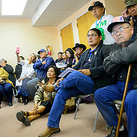 101314  Adron Gardner/Independent<br /> <br /> Navajo Nation presidential candidate Chris Deschene sits with supporters during a special meeting of the Navajo Nation Board of Election Supervisors in Window Rock Monday.