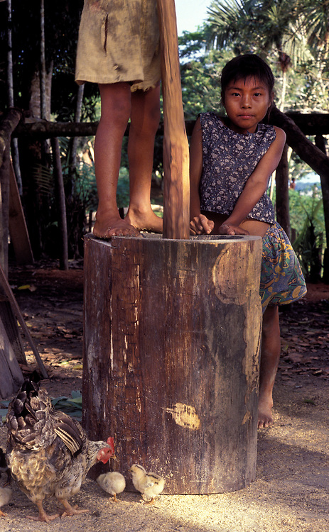 Two sisters grinding maize in a hollowed tree trunk, near Leticia, Amazonas, Colombia