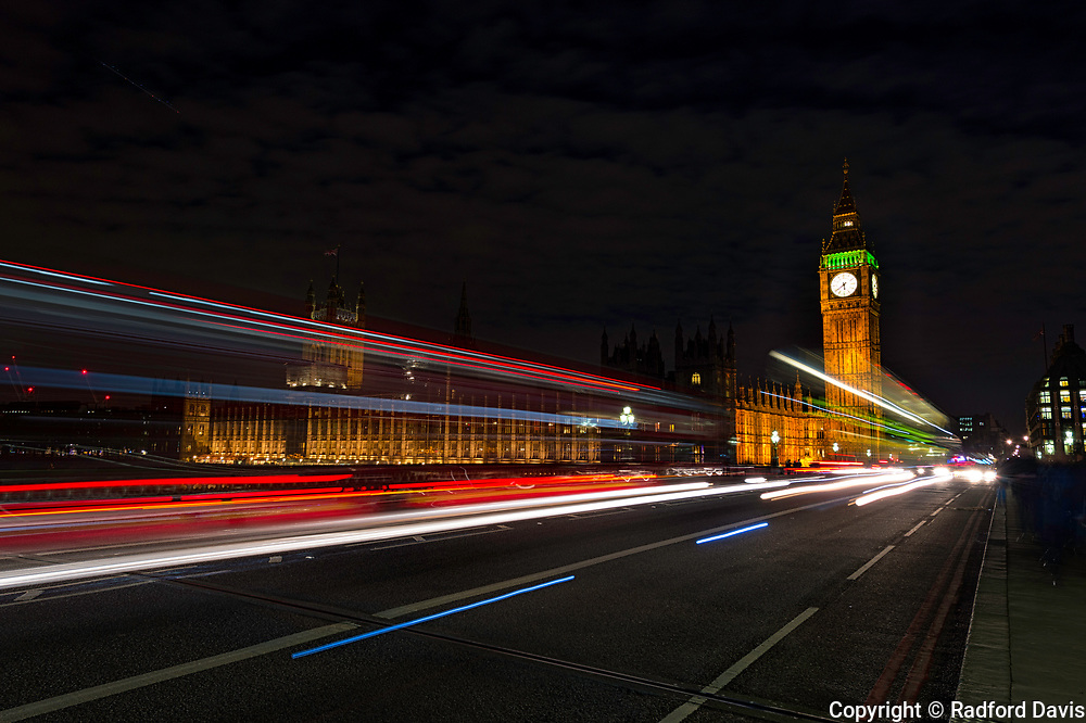 Big Ben and Parliament in London at night using a long exposure.