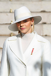 Prince Albert II and Princess Charlene of Monaco are leaving St Nicholas Cathedral after the solemn mass celebrated by the arcibishop Bernard Barsi, during the National Day ceremonies, Monaco Ville (Principality of Monaco), on November 19th, 2019. Photo by Marco Piovanotto/ABACAPRESS.COM