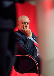 © Licensed to London News Pictures. 27/09/2016. Liverpool, UK. Labour party leader JEREMY CORBYN watches on as Mayor of London SADIQ KHAN delivers a speech at the third day of the Labour Party Annual Conference, held at the ACC in Liverpool, merseyside, UK. Photo credit: Ben Cawthra/LNP
