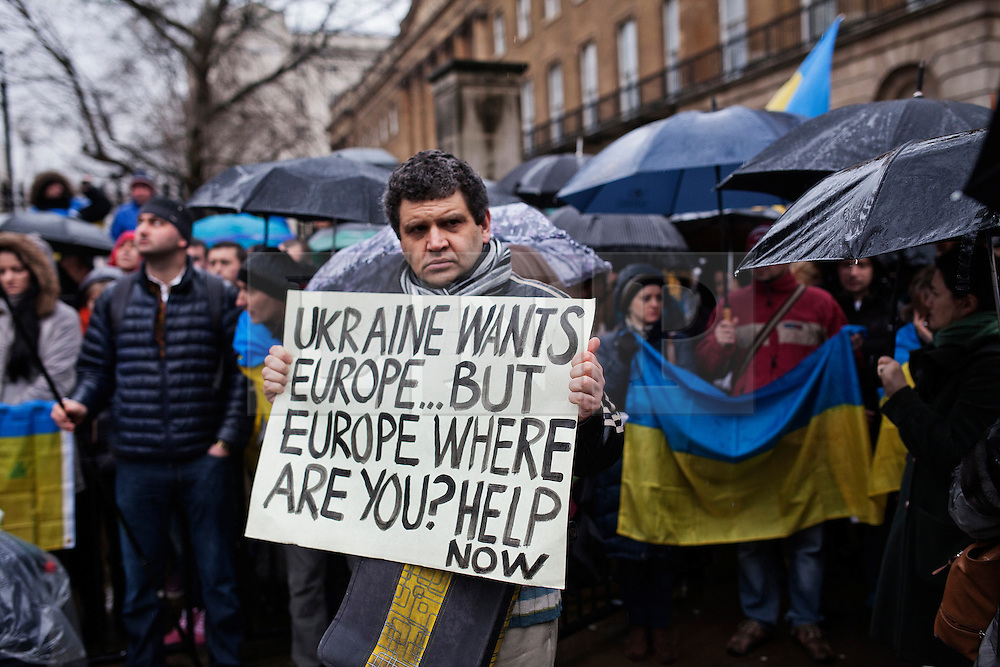 © Licensed to London News Pictures. 29/01/2014. London, UK. Hundreds of Ukrainians gather outside Downing Street asking for Europe intervention in Ukraine following violent anti government clashes. Photo credit : Andrea Baldo/LNP