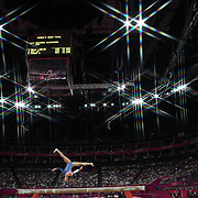 Alexandra Raisman, USA, in action during her Bronze Medal performance during the Women's Gymnastics Apparatus Beam final at North Greenwich Arena during the London 2012 Olympic games London, UK. 7th August 2012. Photo Tim Clayton