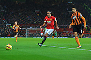 Radamel Falcao of Manchester United battles Hull's Curtis Davies - Manchester United vs. Hull City - Barclay's Premier League - Old Trafford - Manchester - 29/11/2014 Pic Philip Oldham/Sportimage