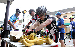 A Cyclist helps himself to a banana while taking a stop during the 111 mile cycling challenge organised by the Community Foundations of Bristol and Gloucester Rugby - Mandatory by-line: Robbie Stephenson/JMP - 03/07/2016 - CYCLING - Bannerdown - Bath, United Kingdom - Break The Cycle Challenge 2016