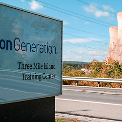 Exelon sign at the Three Mile Island Nuclear Plant at the Susquehanna River near Middletown, Pennsylvania.