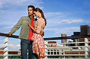SHOT 5/7/2006 - Larimer Square 2006 spring fashion campaign. Male and female model with the Downtown Denver, Co. skyline as a backdrop..(Photo by Marc Piscotty/ © 2006)