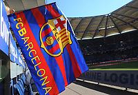 Fotball<br /> Tyskland<br /> 24.07.2012<br /> Foto: Witters/Digitalsport<br /> NORWAY ONLY<br /> <br /> Fahne Barcelona<br /> Fussball, Hanwha Solar-Cup 2012, Hamburger SV - FC Barcelona