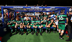 2 September 2017 - Charity Football - Game 4 Grenfell - The Team Shearer substitutes relax in the dug out - Photo: Charlotte Wilson