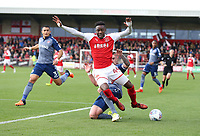 Fleetwood Town's Devante Cole is tackled by Charlton Athletic's Patrick Bauer but wins a corner in the process<br /> <br /> Photographer Stephen White/CameraSport<br /> <br /> The EFL Sky Bet League One - Fleetwood Town v Charlton Athletic  - Saturday 30th September 2017 - Highbury Stadium - Fleetwood<br /> <br /> World Copyright © 2017 CameraSport. All rights reserved. 43 Linden Ave. Countesthorpe. Leicester. England. LE8 5PG - Tel: +44 (0) 116 277 4147 - admin@camerasport.com - www.camerasport.com
