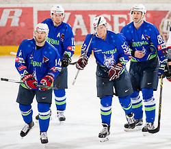 13.02.2016, Olympiaworld, Innsbruck, AUT, Euro Ice Hockey Challenge, Slowakei vs Slowenien, im Bild Andrej Hebar (SLO), Ziga Pesut (SLO), Robert Sabolic (SLO) and Sabahudin Kovacevic (SLO) // Andrej Hebar of Slowenia Ziga Pesut of Slowenia qe55 and Sabahudin Kovacevic of Slowenia during the Euro Icehockey Challenge Match between Slovakia and Slovenia at the Olympiaworld in Innsbruck, Austria on 2016/02/13. EXPA Pictures © 2016, PhotoCredit: EXPA/ Jakob Gruber