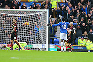 Romelu Lukaku of Everton celebrates after scoring his teams 1st goal. Premier league match, Everton v Manchester City at Goodison Park in Liverpool, Merseyside on Sunday 15th January 2017.<br /> pic by Chris Stading, Andrew Orchard sports photography.