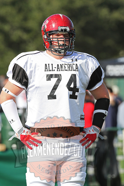 Brey Cook during the practice session at the Walt Disney Wide World of Sports Complex in preparation for the Under Armour All-America high school football game on December 3, 2011 in Lake Buena Vista, Florida. (AP Photo/Alex Menendez)