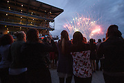 April 1, 2016; Indianapolis, Ind.; The UAA women's basketball team watches the fireworks show at the Women's Final Four Salute at the Indianapolis Motor Speedway.