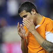 Tim Cahill, New York Red Bulls, distraught at their sides loss after the final whistle during the New York Red Bulls V Houston Dynamo, Major League Soccer second leg of the Eastern Conference Semifinals match at Red Bull Arena, Harrison, New Jersey. USA. 6th November 2013. Photo Tim Clayton